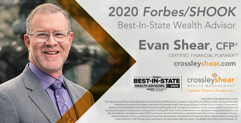 For a 3rd Consecutive Year, CrossleyShear Wealth Management's Evan Shear Named to Forbes' 2020 List of Top Wealth Advisors